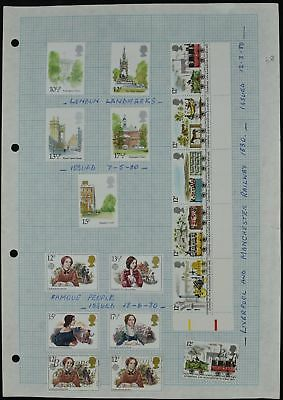 GB 1980 QEII Commemoratives Mint/Used Album Page Of Stamps #V7312