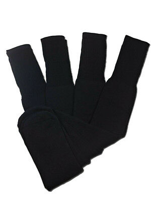 4 Pairs Mens Black Tube Socks Big and Tall Extra Long Thick Cotton - 28 Inches