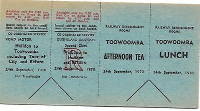 1970 Brisbane Toowoomba Tour Rare 4 part Ticket with Lunch & Afternoon Tea Cance