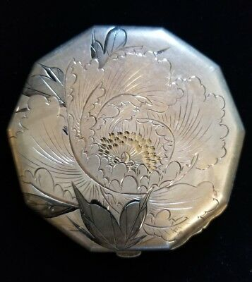 Vintage Sterling Silver Octagon Mirrored Floral Compact Possibly Siam?