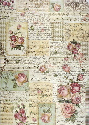 Rice Paper for Decoupage Sheet A/3 Roses and Manuscript