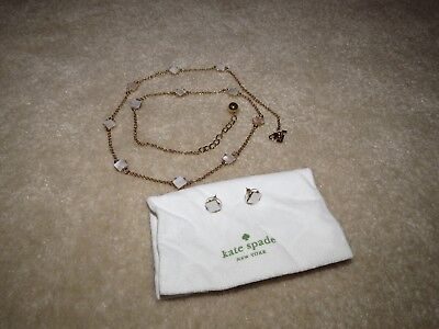 Vintage Kate Spade Pearl Cove Mop Mother Of Pearl Necklace + Earrings Set Rare!