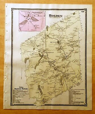 Original Antique 1870 Map HOLDEN Chaffinville MA Massachusetts BEERS