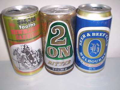 3 Empty old Aussie beer cans  -  Newmarket, 2 On, Beer and Beef