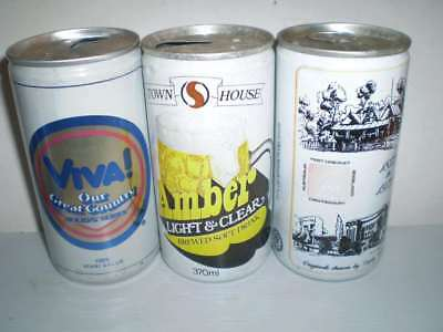 3 Empty old Aussie beer cans  -  Viva Holiday, Amber, Courage
