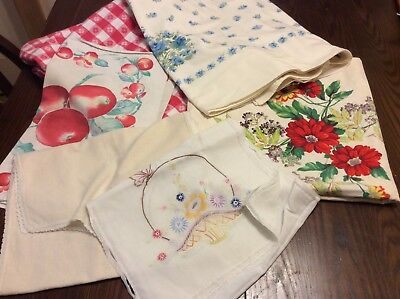 Lot of Vtg Tablecloths, Table Runner CUTTERS
