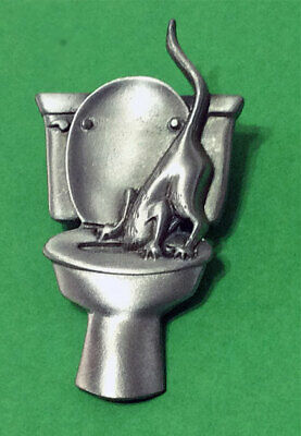 Cat With Head In Toilet Brooch Pin Jonette Original! Funny!