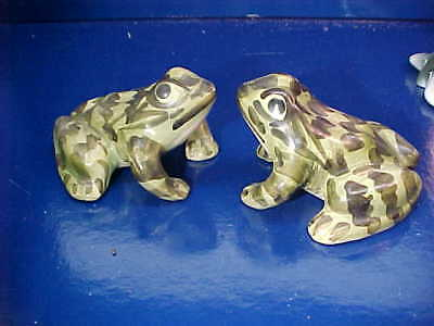 2 Vintage POTTERY Hand Painted FROG Figurines