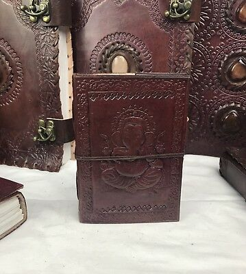 Hand Made Leather Bound Book/Journal Natural Recycled Paper- Ganesh -12.5 x 9 cm