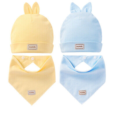 2pcs Newborn Baby Hat+Saliva Lovely Infant Towel Triangle Head Scarf Set