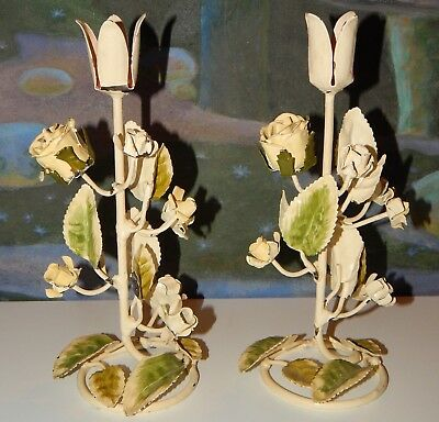 2 Vintage Metal Tole Painted Flowers Leaves Candle Holders Chippy Roses Shabby
