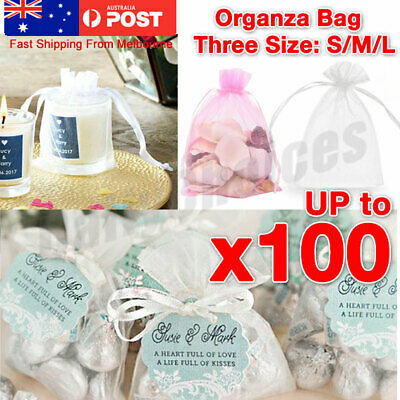 10-50Pcs White Organza Bag 3 Size Sheer Bags Jewellery Wedding Candy Packaging