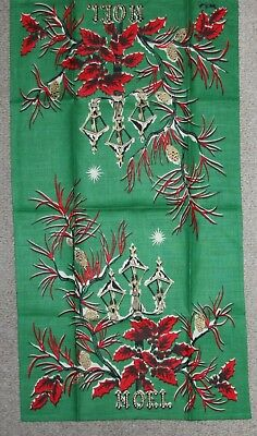 Nwot Vtg Linen True Christmas Green Towel Holly Pine Boughs Cones Noel Excellent