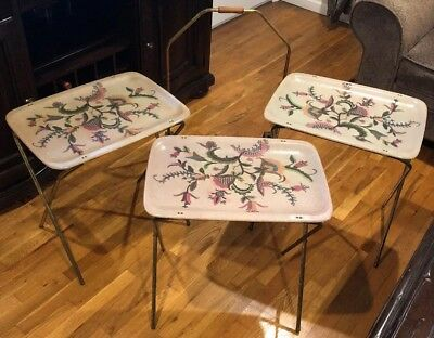 Vintage Retro Metal Folding TV Serving Trays Tables w/ Rack Beige Flowered 3 Set