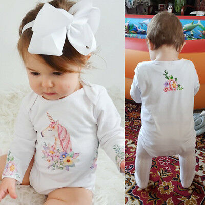 US Toddler Baby Girls Unicorn Newborn Romper Bodysuit Jumpsuit Outfits Clothes