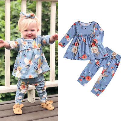 US Stock New Toddler Kid Baby Girl Floral Long Sleeve Dress Top+Trousers Outfit