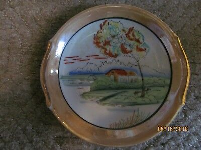 """Old Vintage Japanese Hand Painted Porcelain Plate 7 1/2"""" Across 1"""" Deep"""