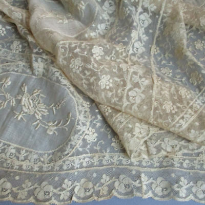 """Vintage French NORMANDY LACE Panel 38"""" X 24"""" Embroidered FLOWERS on Sheer Linen"""