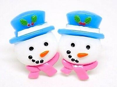 Handmade Christmas Snowman Resin Cufflinks Silver Plated Toggles, Gift Boxed!