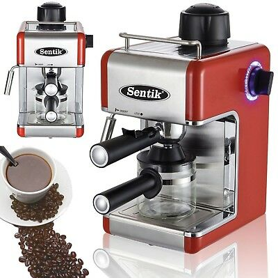 Sentik Red Espresso Cappuccino Latte Coffee Maker Machine Stainless Steel Deco