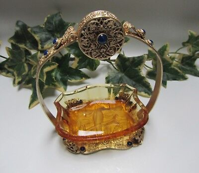 Honey Amber Czech Glass Intaglio Open Salt Cellr Dip in Jeweled Brass Holder