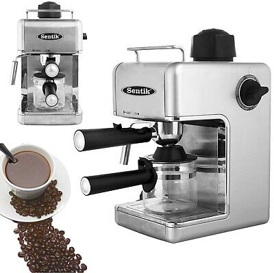 Sentik Silver Espresso Cappuccino Latte Coffee Maker Machine Stainless Steel Dec