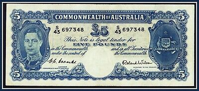 Pre-Decimal 1952 5 Pound Banknote Coombs/Wilson S/43-697348 R-48