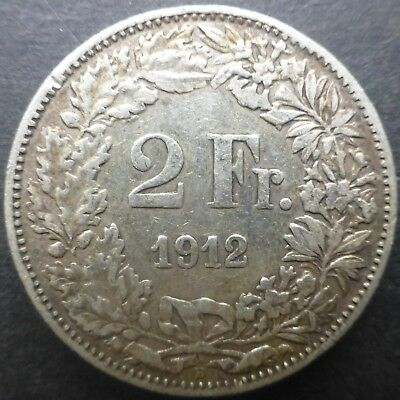 1912 Swiss 2 Francs Silver Coin