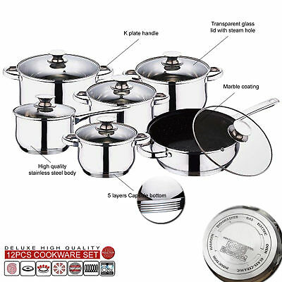 INDUCTION STAINLESS STEEL KITCHEN COOKWARE POT PAN SET GLASS LIDS NON STICK 12pc