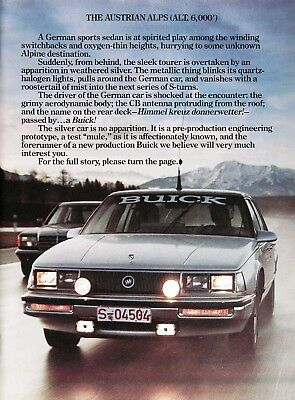 1984 BUICK ELECTRA T-TYPE Genuine Vintage Advertisement ~ 3.8L MFI