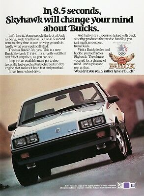 1984 BUICK SKYHAWK Genuine Vintage Advertisement ~ TYPE T TURBO 1.8L