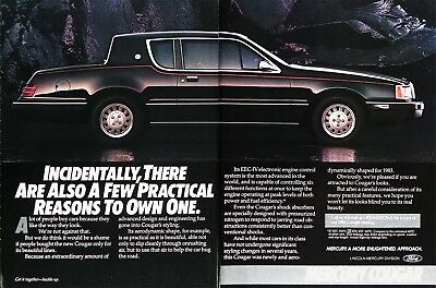 1984 MERCURY COUGAR Genuine Vintage Advertisement ~  Aerodynamically Shaped