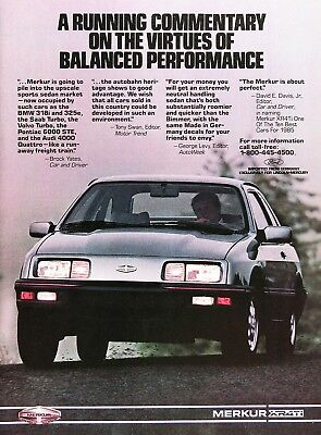 1985 MERCURY MERKUR XR4Ti Genuine Vintage Advertisement ~ Full Color Ad