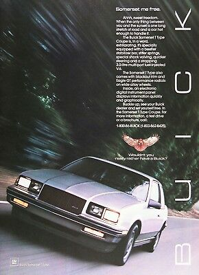 1986 BUICK SOMERSET Genuine Vintage Advertisement ~ 3.0L V-6 T-Type
