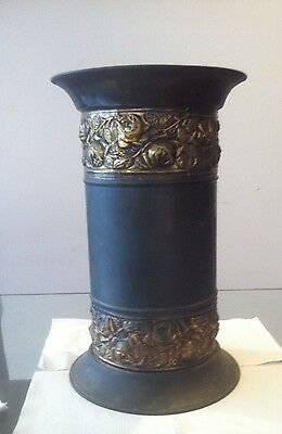 Antique / Vintage Brass Vase With Embossed Roses