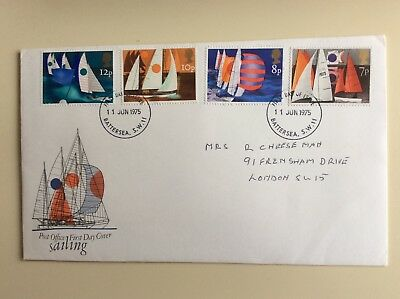 """Post Office First Day Cover """"Sailing"""" 1975"""