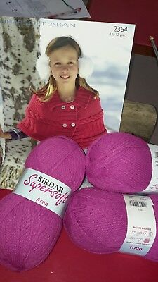 Sirdar Supersoft Aran girls poncho kit knitting yarn & pattern ages 4 - 12