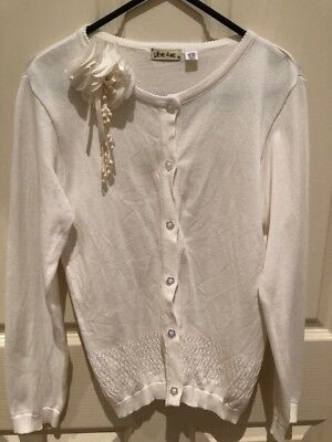 STEVIE & ME - Girls - size 12 - Cream Cardigan with Flower Design