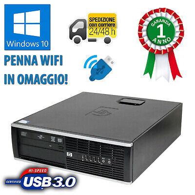 Pc Computer Desktop Fisso Windows 10 Hp Ricondizionato Quad Core 4Gb 500Gb Wifi