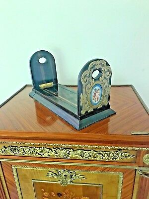 French 19th CentLibrary Book Slide Macassar Ebony, Bronze, Porcelain SUBMIT BEST