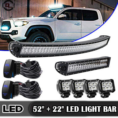 """Curved 50Inch LED Light Bar + 22in +4"""" CREE PODS OFFROAD SUV 4WD ATV VS 52/20"""