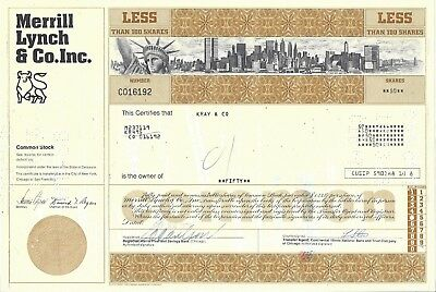 Merrill Lynch & Co. Inc..........1975 Common Stock Certificate