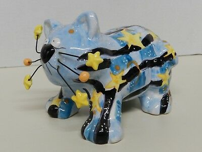 Stars&Stripes Blue Ceramic Cat Piggy Coin Bank w/wire whiskers Belle Casa by Gan