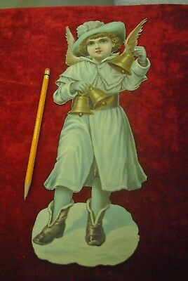 """Victorian Christmas Die Cut Boy Angel Ringing Large Hand Bells, Large 13"""" Tall"""