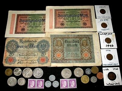 3 German Coins With Swastikas, Banknotes, Stamps, Foreign Coins! Usa Coins! #617