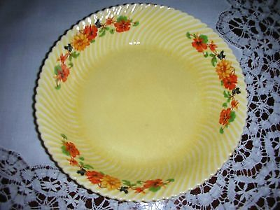 "Vintage Limoges Kokus Golden Glow 8"" Shallow Ribbed Bowl Sebring Yellow Orange"
