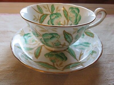 Royal Chelsea Bone China Tea Cup & Saucer Bright Green Floral Gilt 4189A Exc