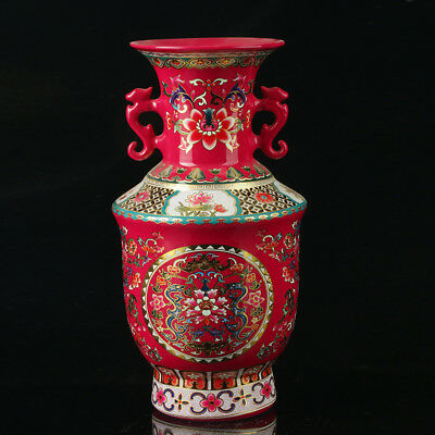 China Colorful Porcelain Hand-Painted Flowers Vase As The Qianlong PeriodR1031+a