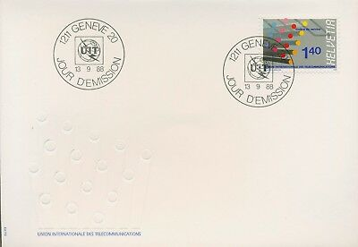 Int. Fernmeldeunion (UIT/ITU) 1988 Glasfaserkabel 14 FDC (X16610)