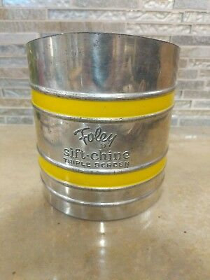Vintage Foley Sift-Chine Triple Screen Flour Sifter with Yellow Trim